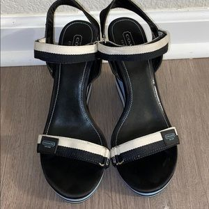 Coach Ankle Strap Wedge Heels